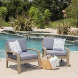 GDF Studio Giselle Outdoor Acacia Wood Club Chairs