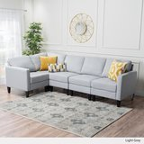 GDF Studio Carolina Light Grey Fabric Sectional Sofa