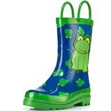 Puddle Play Kids Green Frog Character Printed Waterproof Easy-On Rubber Rain Boots
