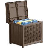 Suncast Mocha Resin Wicker Storage Seat